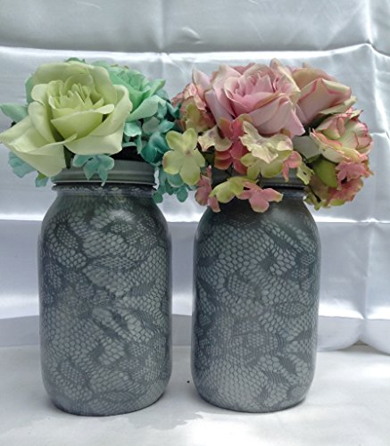 set of 2 floral lace pattern painted grey mason jars centerpieces wedding decorations rustic