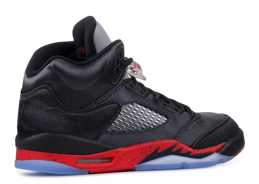 Nike Air Jordan 5 Retro Grade School Satin BlackUniversity Red 440888 006 (Size: 4Y)