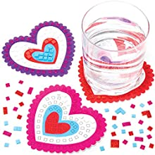 Baker Ross AT540 Kits Mosaicos Posavasos Corazón Set para niños (paquete de 6)