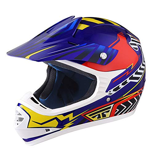 AHR DOT Youth Motocross Helmet Full Face Offroad Dirt Bike Helmet Motorcycle ATV Mountain Bike Outdoor Sports M