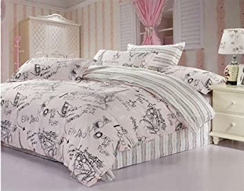 Amazon.com: Queen Size Pink 4pcs Comforter Bedding Set the Eiffel ... : eiffel tower quilt cover - Adamdwight.com