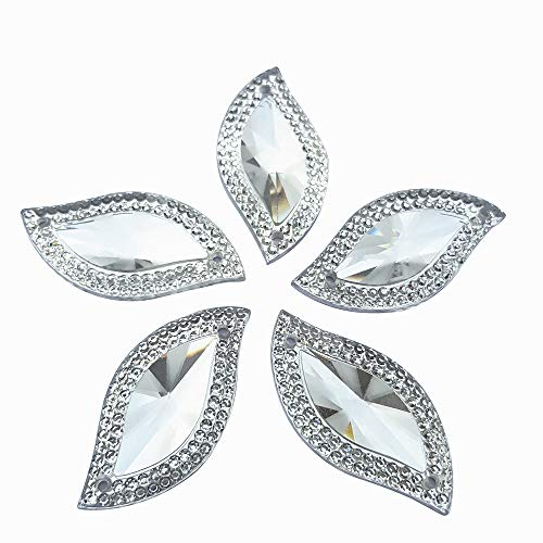 Rhinestones Leaf Shape With Silver Edge Gems Stones and Crystals Wedding Decoration Sew On For Stick-On Dance Costumes Shoes Bag Sewing Wedding Dress Accessory 15x30mm 60pcs 2 Holes (Silver)