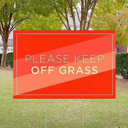 Modern Diagonal Double-Sided Weather-Resistant Yard Sign Please Keep Off Grass CGSignLab 5-Pack 27x18