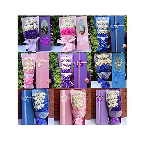 15 Style Kawaii Bear + Soap Flower Plush Toy for Girl Bear Dolls Cartoon Flower Bouquet Valentine Graduation Birthday Gift Stuffed Animal (VER 11)