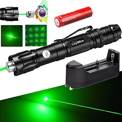 Green Light Pointer, Loyalfire High Power Tactical Flashlight Pen Visible Beam for Hunting Hiking Outdoor Projector Travel, Cat Dog Toy LED Interactive Baton