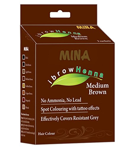 MINA Eyebrow Henna for Eyebrow Color and Tinting kit- Medium Brown