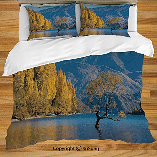 - Nature King Size Bedding Duvet Cover Set,Sunken Tree Lake on Mountain Range Exquisite Rural New Zealand Scenery Decorative 3 Piece Bedding Set with 2 Pillow Shams,Earth Yellow Light Blue