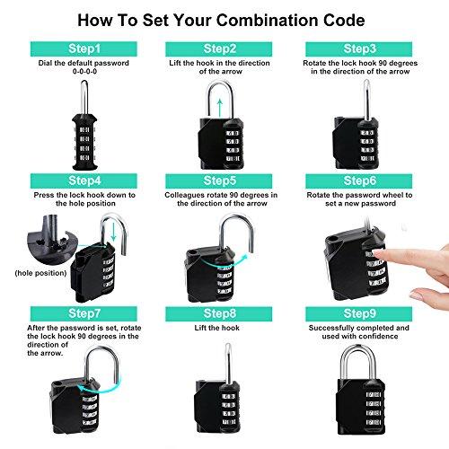 ZHEGE Lock, 4 Digit Combination Padlock Outdoor, School Lock, Gym Lock and Black Lock