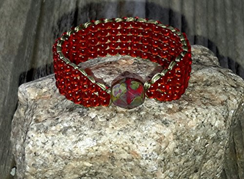 Bead Focal Faceted - Czech Picasso Firepolished Faceted Glass Focal Bead Ring with Red Olive Green Seed Bead Band Size 10