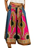 Pandapang Women's Ethnic Waistband Vogue High Waisted Africa Baggy Print Wide-Leg Palazzo Pants Rose L