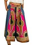 Wofupowga Womens Baggy Print High Waisted Africa Loose Belt Wide-Leg Palazzo Pants Rose M
