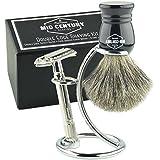 Safety Razor Shaving Kit: Double Edge Razor, Pure Badger Brush, Heavy Chrome Stand with Travel Case; Complete Wet Shave Gift Set (Black)