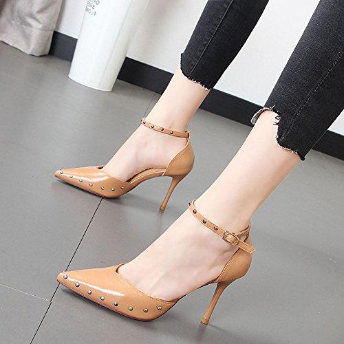 Xue Qiqi Compacta y elegante zapato de punta de luz zapatos remaches ranurados de color sólido de un simple calzado femenino,36, beige