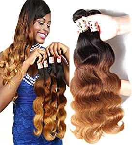 B&F Hair Brazilian Virgin Ombre Hair Body Wave Weft 3 Bundles 100% Unprocessed Human Hair Weave Extensions Color #1b/#4/#27 (100+/-5g)/pc (16 18 20inch #1b/#4/#27)
