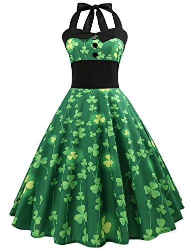 Ezcosplay Women Clover Print ST. Patrick's Day Dress Halter Party A Line Dress -