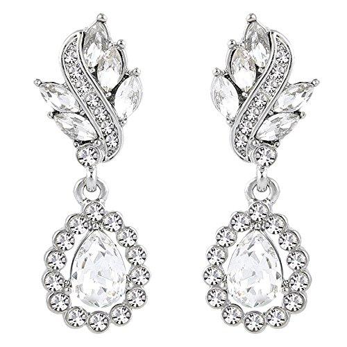 EleQueen Women's Austrian Crystal Art Deco Tear Drop Dangle Earrings Pierced Silver-tone Clear