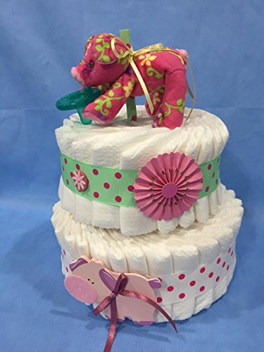 Pink Pig Wubba NUB 2 Tier Diaper Cake