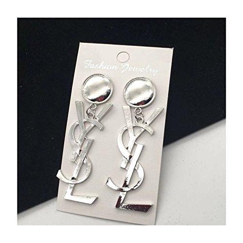tianshiya-Womens-Fashion-Earrings-Large-Size-YS-Letter-Drop-Earrings-Metal-Gold-or-Silver