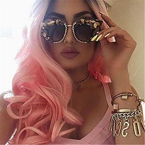 ATOZWIG Natural Fashion Long Dark Roots Ombre Light Pink Body Wave Heat Resistant Synthetic Wigs For Women Two Tone