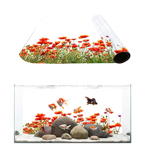Fantasy Star Aquarium Background Flowering Shrubs Poppy Flower Pattern Fish Tank Wallpaper Easy to Apply and Remove PVC Sticker Pictures Poster Background Decoration 24.4