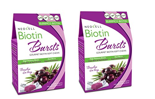 - 2 Packs of Neocell Laboratories Biotin Bursts - Chewable - Acai Berry - 30 Count