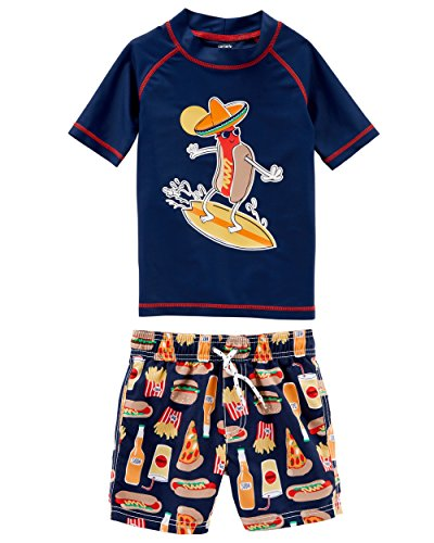 Carter's Boys' Toddler Rashguard Swim Set, Navy Food, 4T -