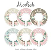 Modish Labels Baby Nursery Closet Dividers, Closet Organizers, Nursery Decor, Baby Girl, Deer, Floral Antlers, Flowers, Woodland