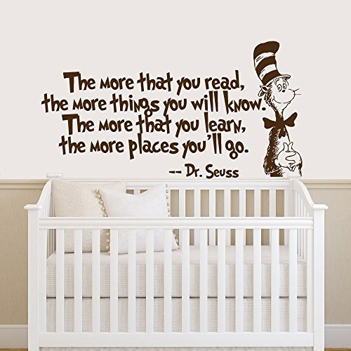 Quote Wall Decal Dr Seuss Vinyl Sticker Decals Quotes The More That You Read Decal Quote Sayings Decor Nursery Baby Room Playroom x242 - Baby You Can Read