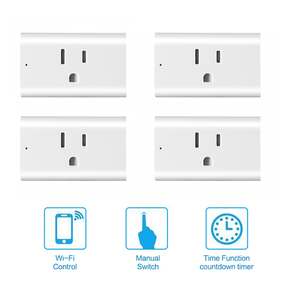 Smart Outlet, ONEVER WiFi Enabled Mini Remote Control Timer Switch Compatible with Google Home & Amazon Echo Alexa US Plug (Pack of 4X)