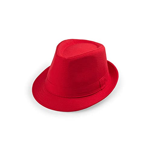 unisex estate Cappello Panama - fedora / trilby berretto di gangster spiaggia (rosso)