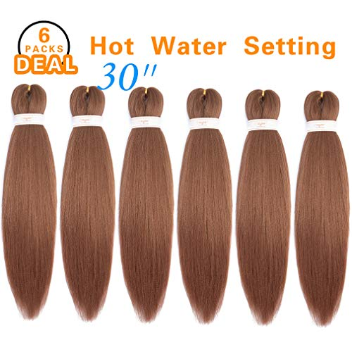 (Pre-stretched Braiding Hair Professional Itch Free Synthetic Fiber Corchet Braids Yaki Texture Hair Extensions EZ Braid 6 packs (30'' #30))