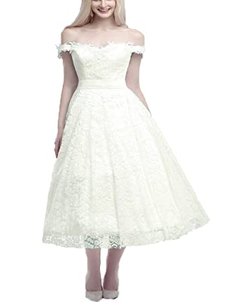 9ae431cf8acaa Onlybridal Women's Wedding Dresses Floral Lace Off Shoulder Boat Neck  Bowknot Belt Wedding Dress Tea-Length Bridal Dresses at Amazon Women's Clothing  store:
