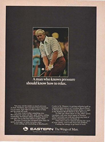 Vintage Magazine Print Ad: 1973 Eastern Air Lines, Golf Pro Jack Nicklaus,