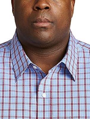 Amazon Essentials Men's Big & Tall Long-Sleeve Plaid Casual Poplin Shirt fit by DXL