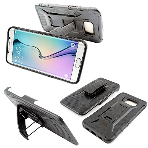 Customerfirst - S6 Edge Plus Case, [Kickstand Full Body Protection] Locking Belt Clip Swivel Hostler Defender Armor Case for Samsung Galaxy S6 Edge+ - Does Not Fit S6 or S6 ()