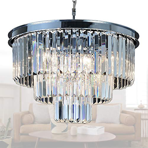MEELIGHTING Crystal Chrome Chandelier Modern Chandeliers Lighting 8 Lights Pendant Ceiling Light Fixture 3-Tier for Dining Room Living Room Kitchen Island W19.7
