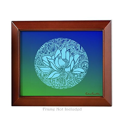 Meditation Series - Throat Chakra Healing Blue Lotus - Unframed 8x10 Art Print Home Study Meditation Room Yoga Studio Birthday Mother's Day Gift Spa Color Therapy Framing Wall Decor Decorations by KalaaWorks - Handmade By Kalaa Kreatika