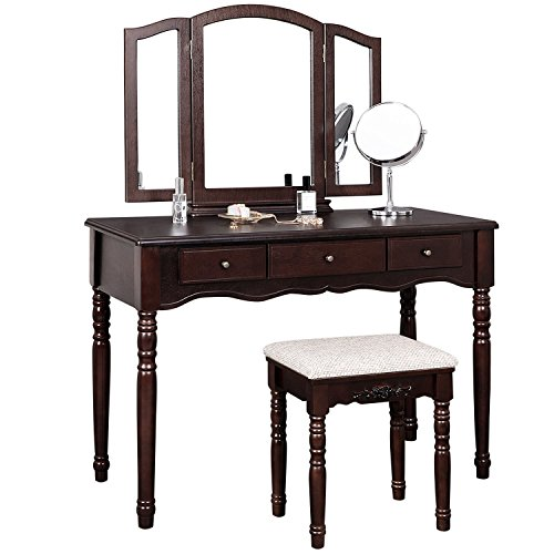 SONGMICS Vanity Set with Tri folding Mirror 3 Drawers Make-up Dressing Table Cushioned Stool Easy Assembly Brown (Drawer Set)