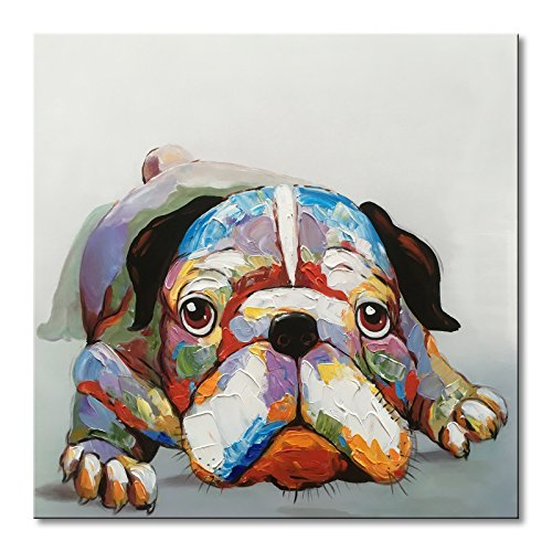 EVERFUN ART Everfun Oil Painting Abstract Dog Canvas Wall Art Hand Painted Modern Animal Cute Bulldog Artwork Contemporary Picture Framed and Stretched Home Decor 32'' Wx32 H by EVERFUN ART