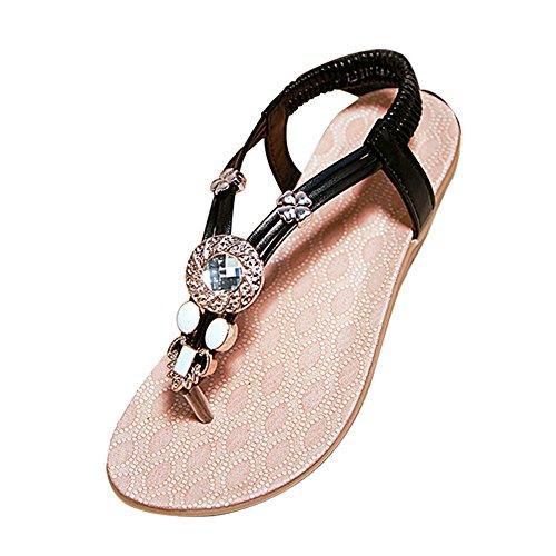YOUJIA Flat Bohemia Sandals Slingback Beads Beach Shoes Clip Toe Sandal For Women Black
