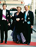 Vintage photo of Prince Philippe, King Albert II and Queen Paola of Belgium arrive at the Drama in connection with King Carl XVI Gustaf's 50th birthday.