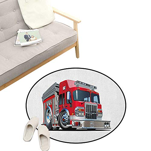 Truck Custom Round Carpet ,Cartoon Style Red Fire Truck Emergency Services Safety of The City Transportation, The Custom Round Non-Slip Doormat 39