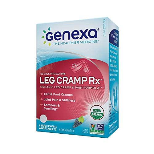 Genexa Leg Cramp Relief: Certified Organic, Physician Formulated, Natural, Homeopathic, Non-GMO Verified Medicine for Calf, Leg & Foot Pain (100 Chewable Tablets)