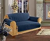 Elegance Linen Quilted Pet Dog Children Kids Furniture Protector Microfiber Slip Cover Love Seat, Navy Blue