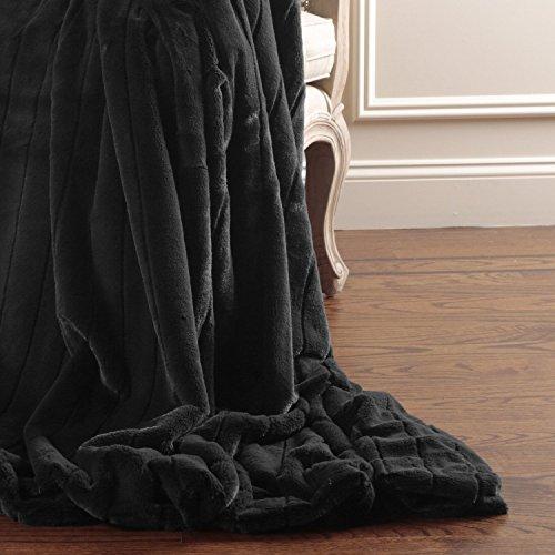 Black Faux Fur Throw - 5