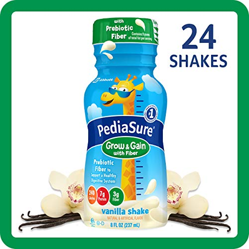 - PediaSure Grow & Gain with Fiber, Kids' Nutritional Shake, with Protein, DHA, and Vitamins & Minerals, Vanilla, 8 fl oz, 24-Count