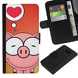 All Phone Most Case / Oferta Especial Cáscara Funda de cuero Monedero Cubierta de proteccion Caso / Wallet Case for Samsung Galaxy S6 // Cute Pig Love