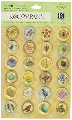 K&Company Scrapbooking Dimensional Stickers, Tim Coffey Foliage Icon Grand Adhesions