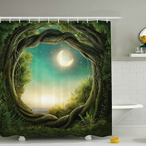 Greenery Trees Forest Full Moon Polyester Fabric Digital Printing Waterproof Shower Curtain Bathroom Decorations Rustic Home Curtains -