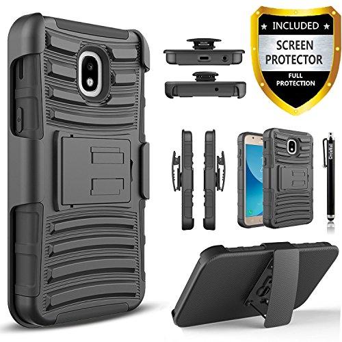 Circlemalls Combo Holster Cover Phone Cases For Samsung Galaxy J7 Refine/J7 2018/J7 V 2nd Gen/J7 Aero/J7 Eon/J7 Star/J7 Crown/J7 Aura/J7 Top, With [Premium Screen Protector]-Black